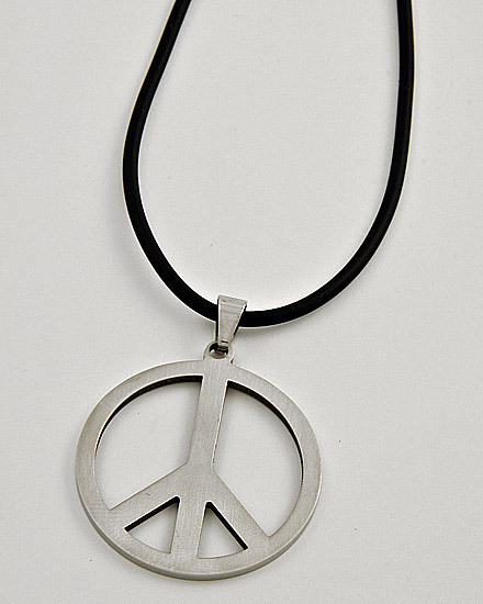 SILVERTONE /STAINLESS STEEL /BLACK CORD /MEN'S PEACE PENDANT NECKLACE
