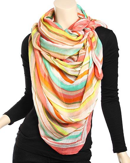 Polyester Woven Multi Color Stripe Design Scarf