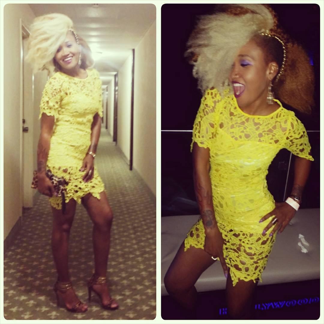 Short yellow lace dress