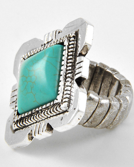 BURNISHED SILVER TONE /TURQUOISE STONE /STRETCH /RING