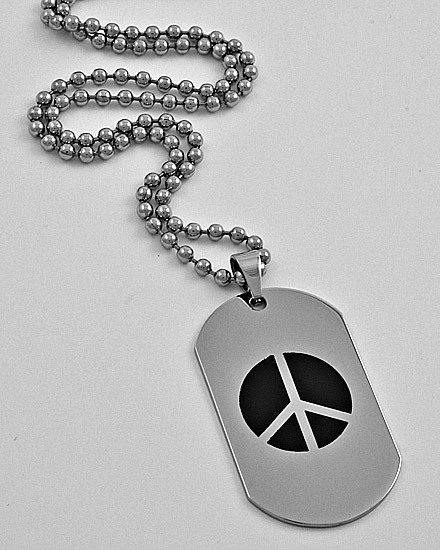 SILVERTONE /STAINLESS STEEL /MEN'S /PEACE DOG TAG PENDANT NECKLACE