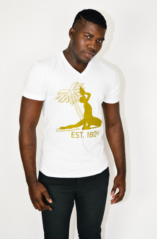 V-NECK T-SHIRT: NEG MARRON / EST. 1804
