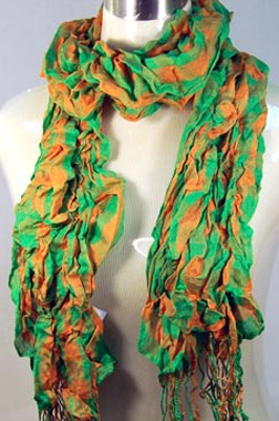CHECKERED RAYON CRINKLE SCARF