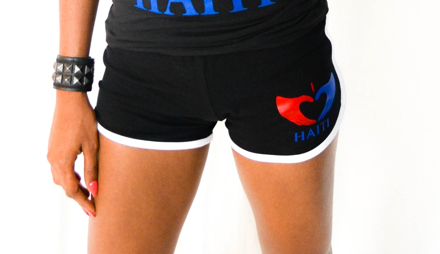 I LOVE HAITI SPORTY SHORTS 1 STRIPE