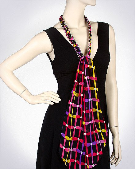 ABSTRACT FLOWER CHIFFON CHAIN SCARF/ BELT
