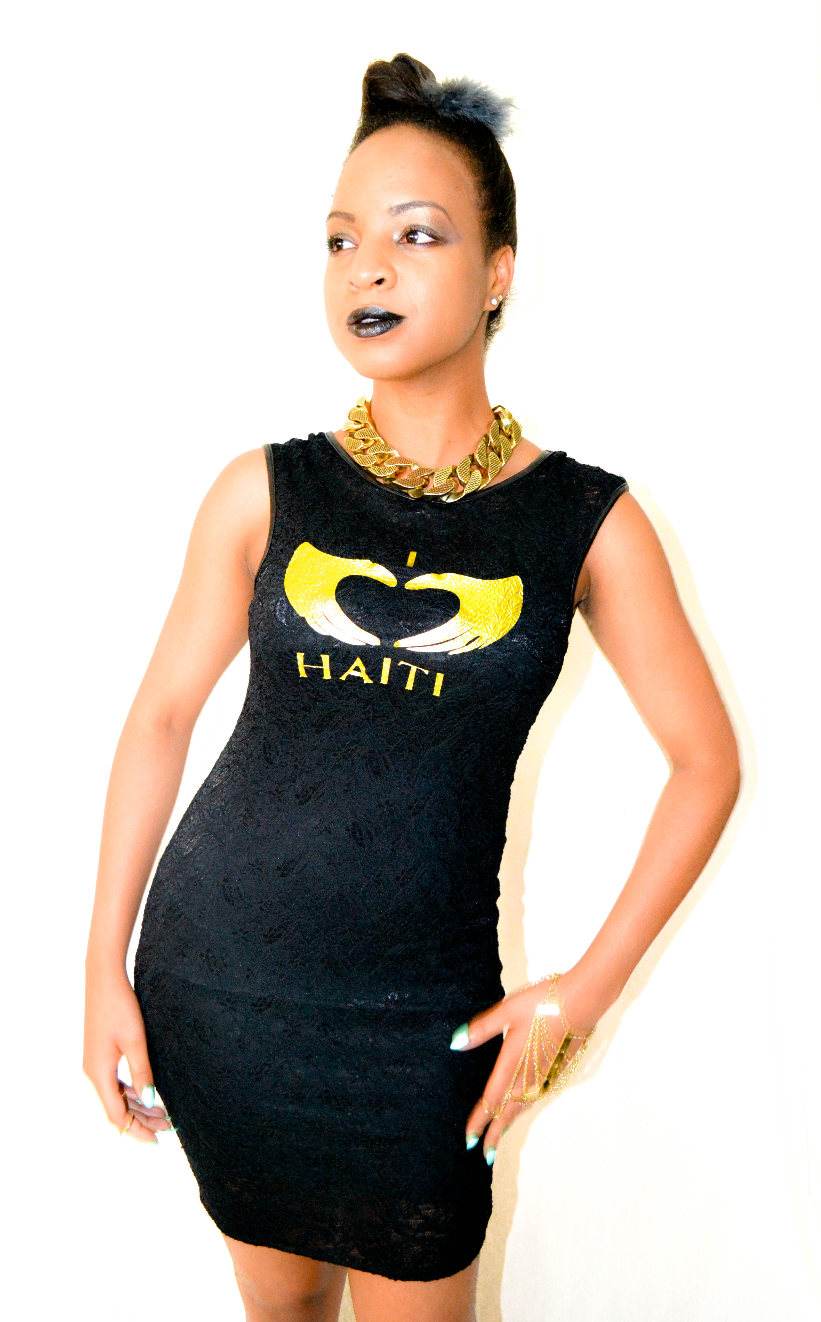 I LOVE HAITI LACE LEATHER TRIM DRESS