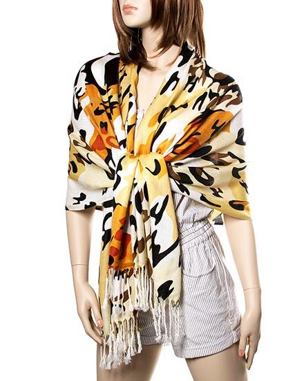 Yellow / 100% Acrylic/leopard Print Scarf