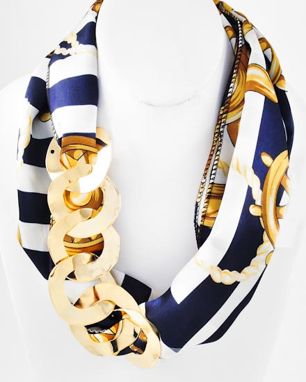 GOLD TONE METAL /BLUE & GOLD SEA LIFE THEME PRINT FABRIC /METAL CHAIN DESIGN /LONG NECKLACE