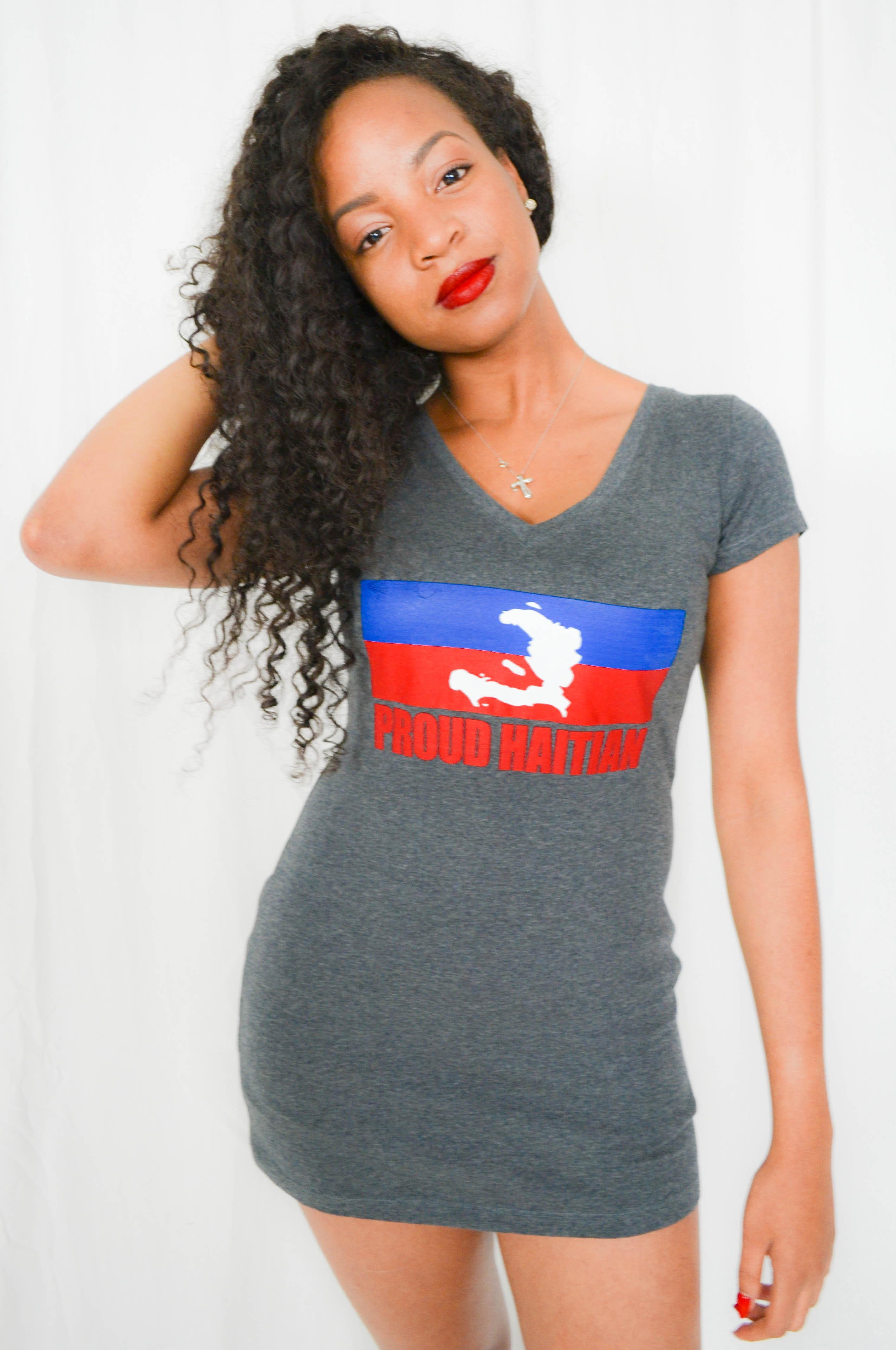 PROUD HAITIAN V-NECK MINI DRESS