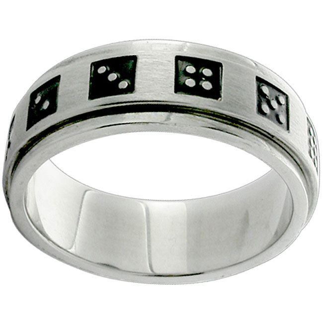 Stainless Steel Black Dice Spinner Ring